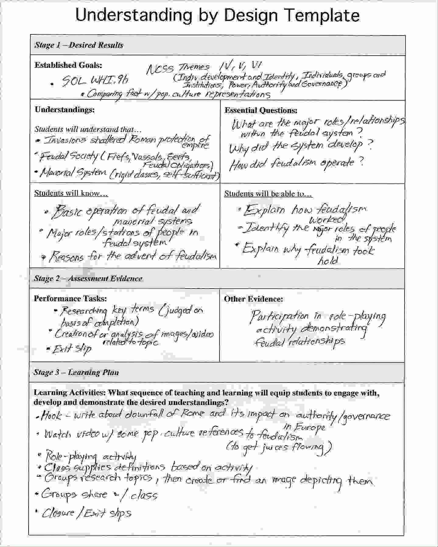 Backward Design Lesson Plan Template Luxury Understanding by Design Template