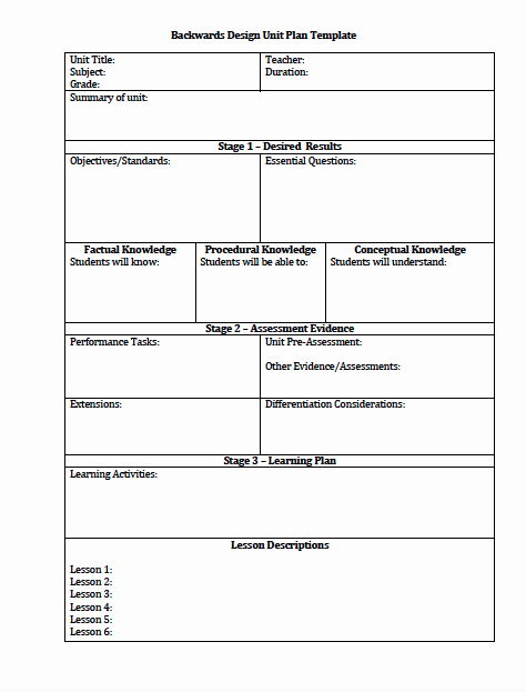 Backward Design Lesson Plan Template New the Idea Backpack Unit Plan and Lesson Plan Templates for