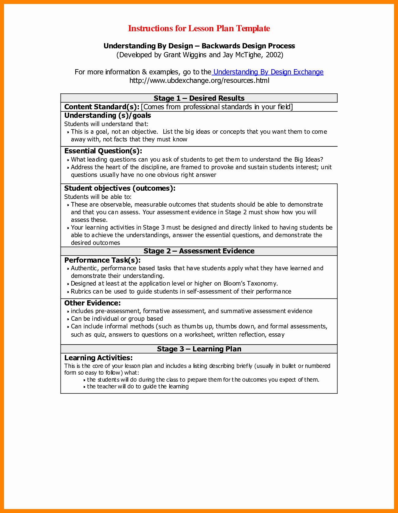 Backwards Design Lesson Plan Template Elegant 16 Backwards Design Lesson Plan Template