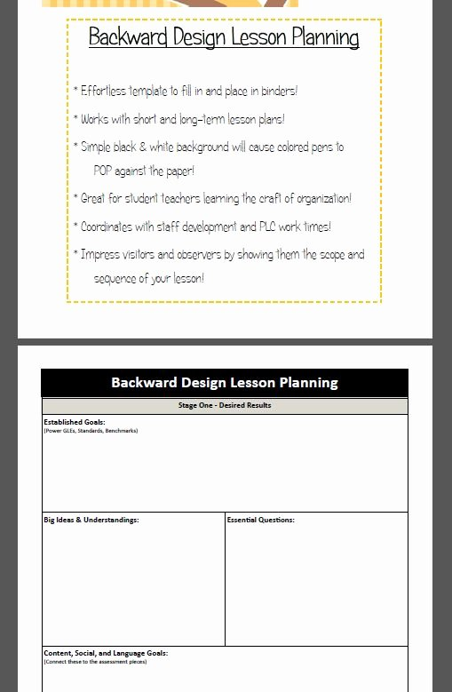 Backwards Design Lesson Plan Template Fresh Backward Design Lesson Plan Template