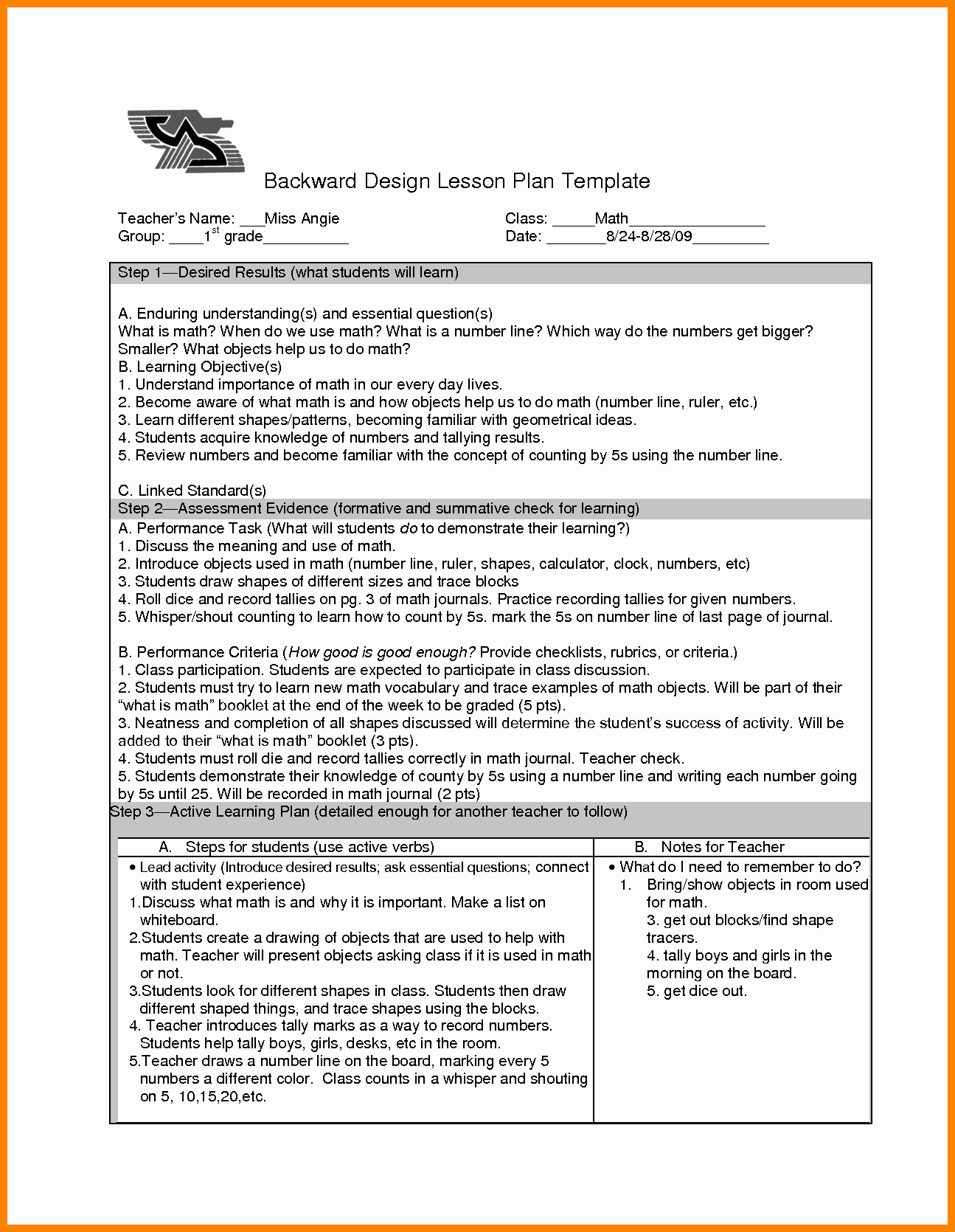 Backwards Design Lesson Plan Template Lovely Backward Design Lesson Plan Template orig