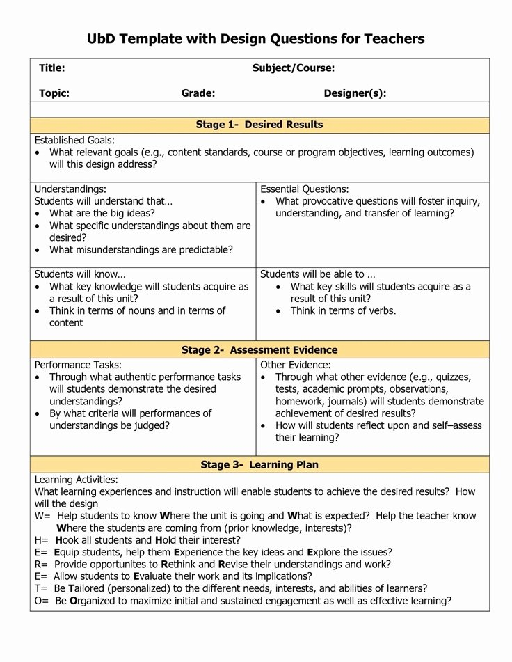Backwards Design Unit Plan Template Unique Understanding by Design Unit Plan Template