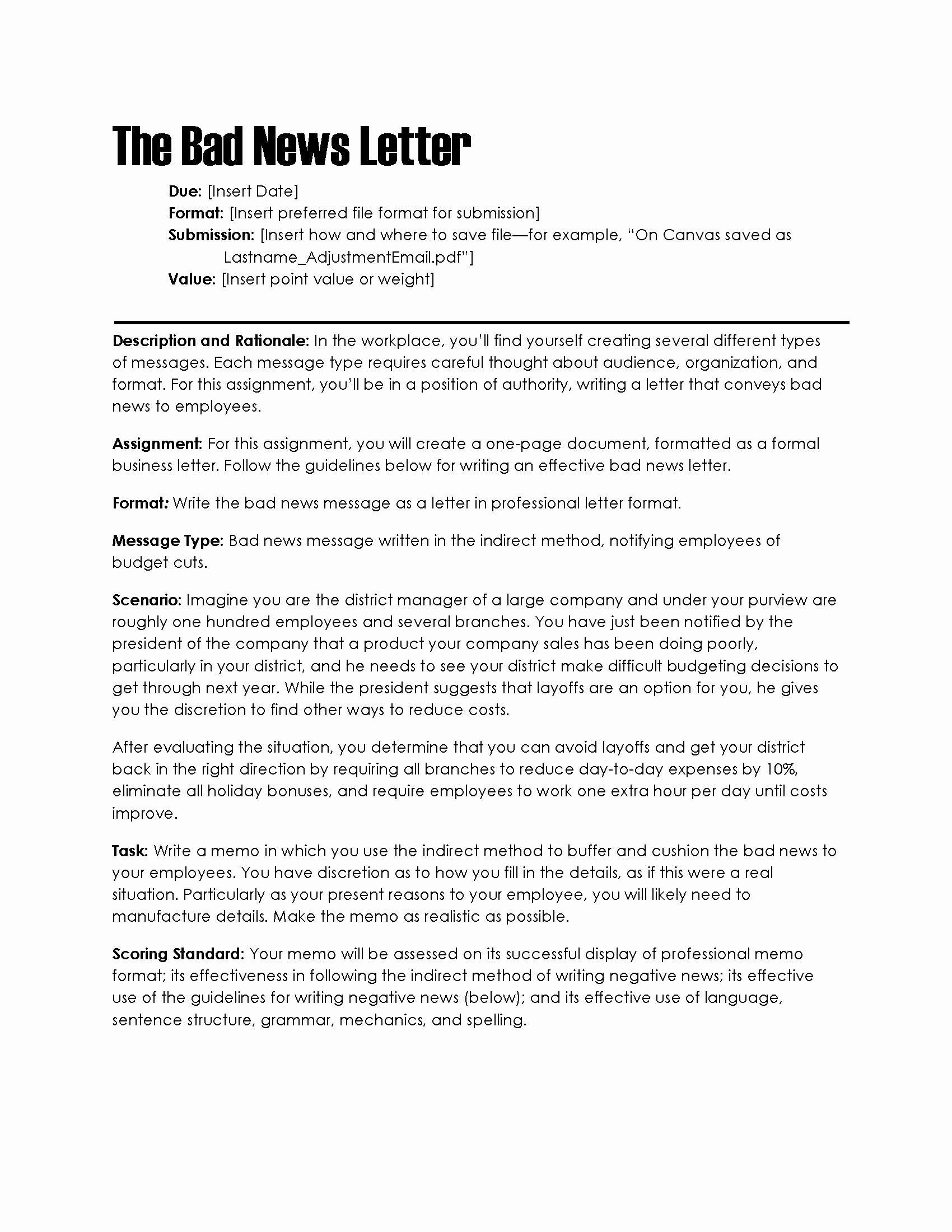 Bad News Letter format Inspirational Bad News Letter – the Visual Munication Guy Designing