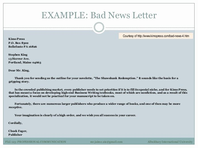 Bad News Letter format Lovely Professional Munication 3 Examples