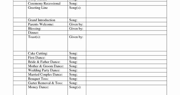 Band Rehearsal Plan Template Inspirational Outline for formal Wedding Itinerary