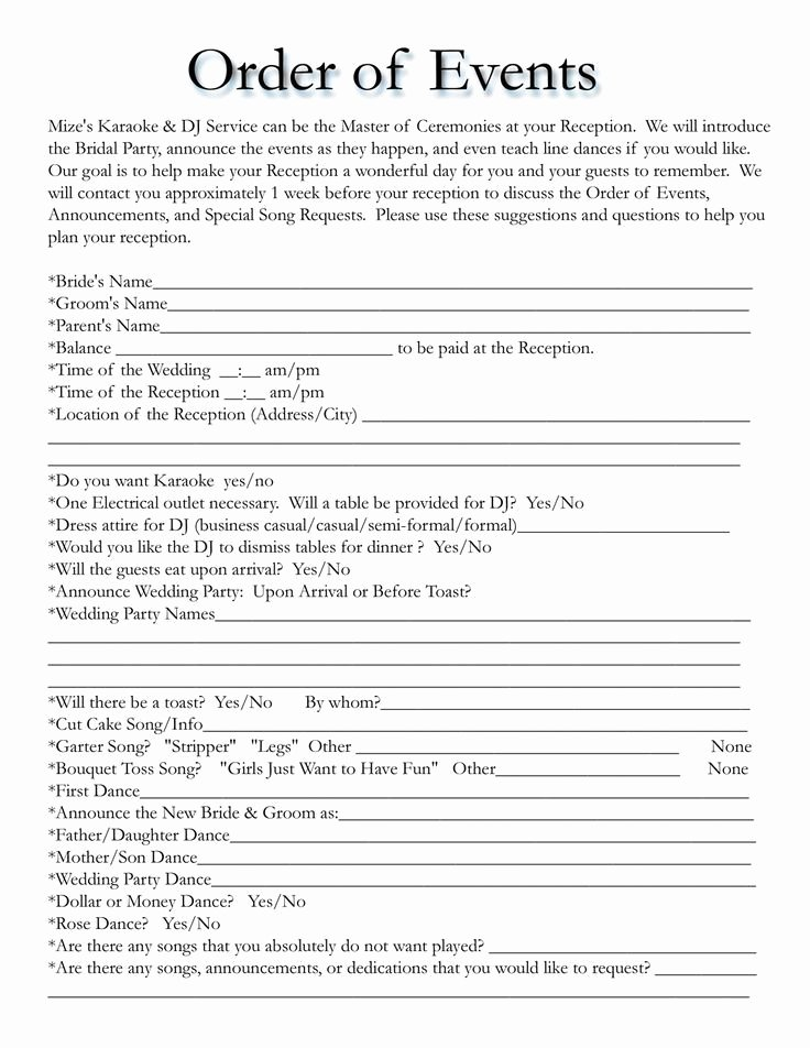 Band Rehearsal Plan Template Lovely Wedding Itinerary Templates Free