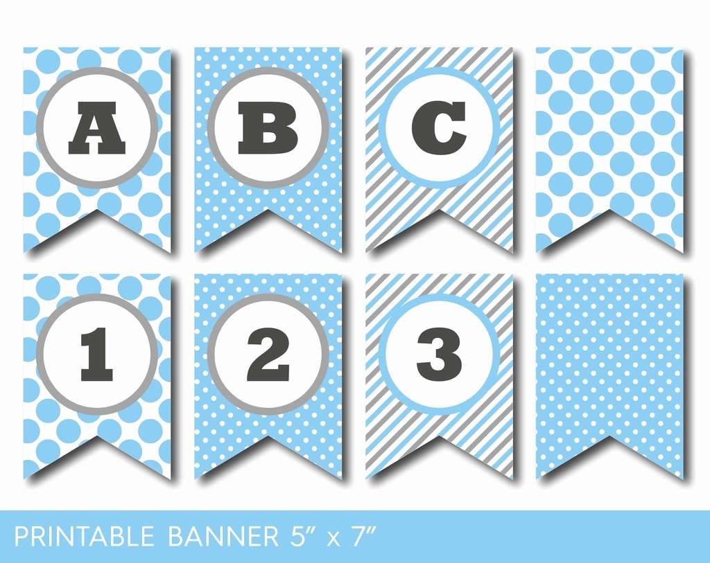 blue and grey banner party banner birthday banner baby shower banner printable banner banner letters polka dot banner pb 586