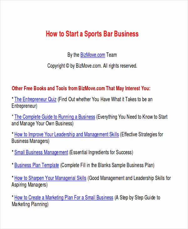 Bar Business Plan Template Awesome 7 Sample Bar Business Plans