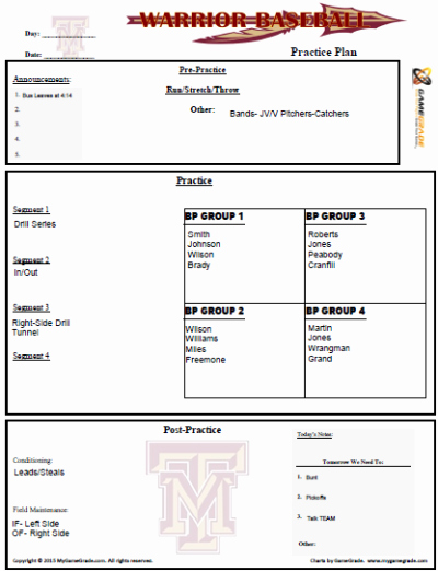 Baseball Practice Plan Template Best Of Gamegrade Grade Your Players Grade Your Games