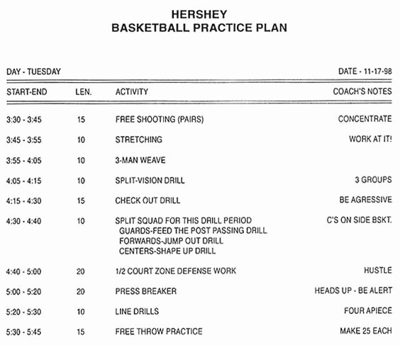 Baseball Practice Plan Template Fresh High School Basketball Practice Plan Sample Girls