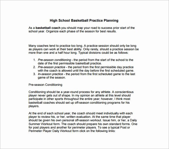 Baseball Practice Plan Template Unique High School Basketball Practice Plan Sample Aloha