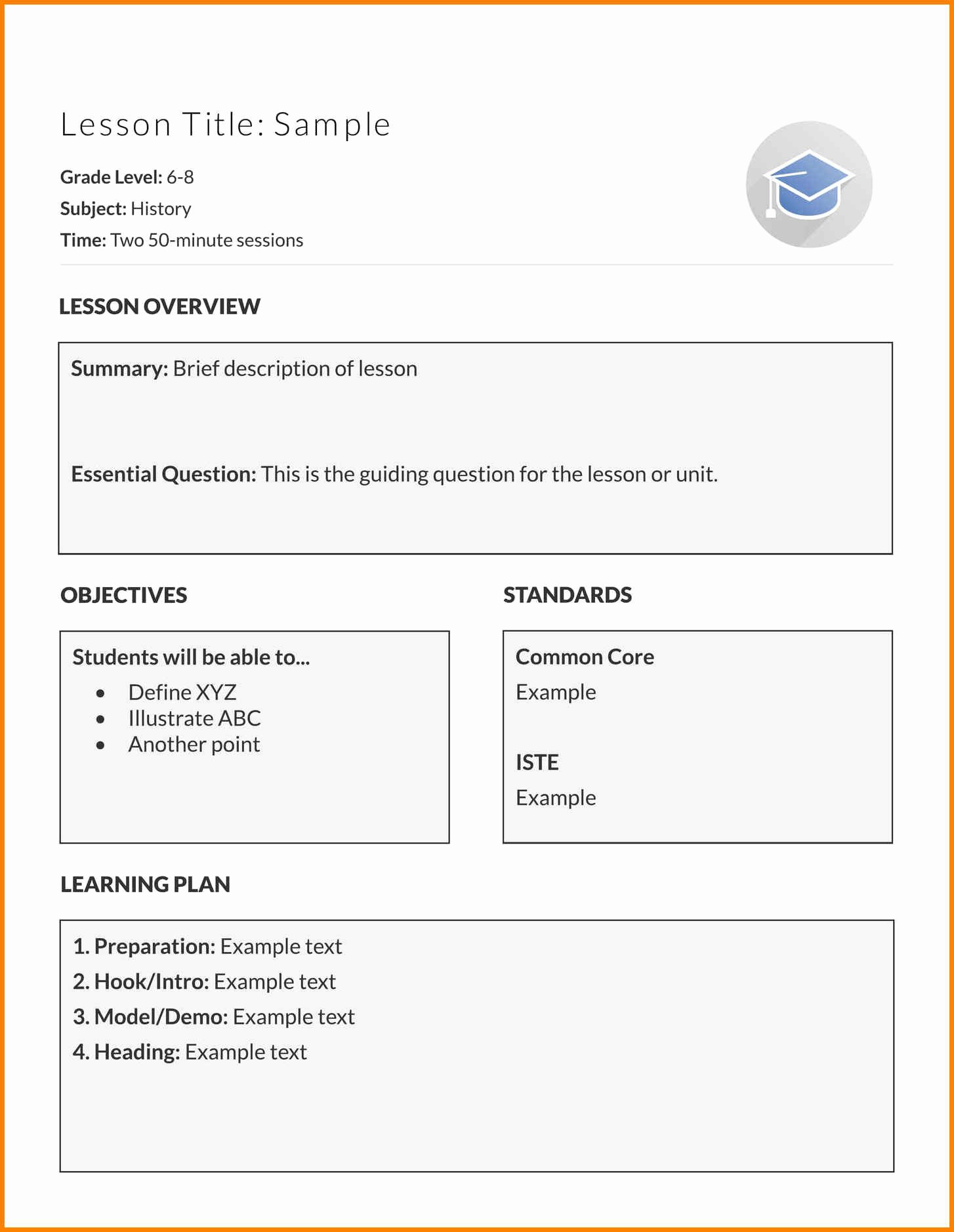 Basic Lesson Plan Template Awesome 10 Easy Lesson Plan Templates