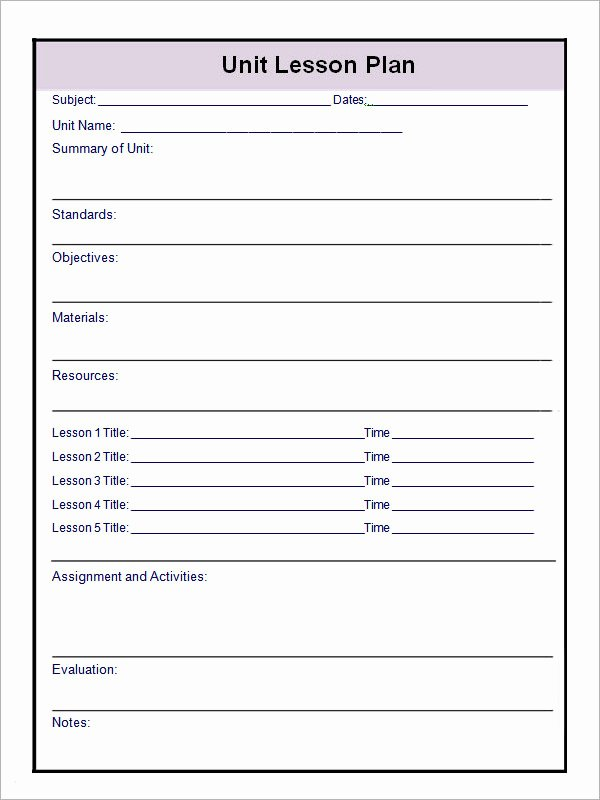 Basic Lesson Plan Template Luxury 12 Sample Unit Plan Templates to Download for Free