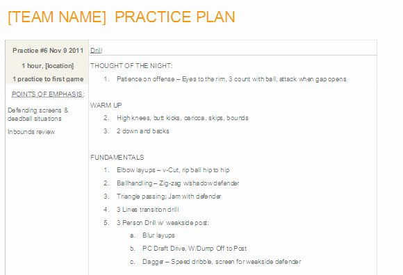 Basketball Practice Plan Template Lovely Easy to Update Basketball Practice Plan Template In Ms