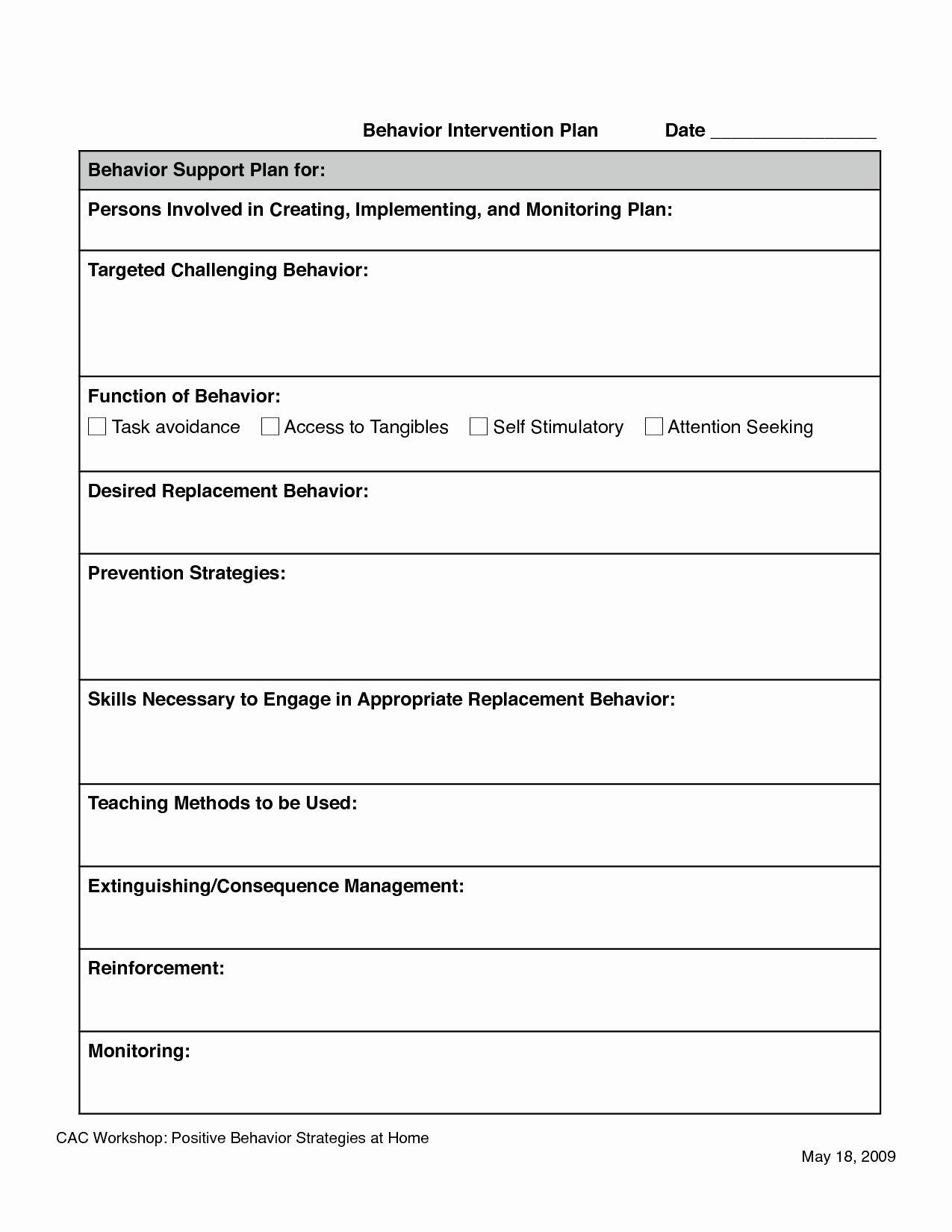 Behavior Intervention Plan Template Doc Luxury Behavior Intervention Plan Template Doc