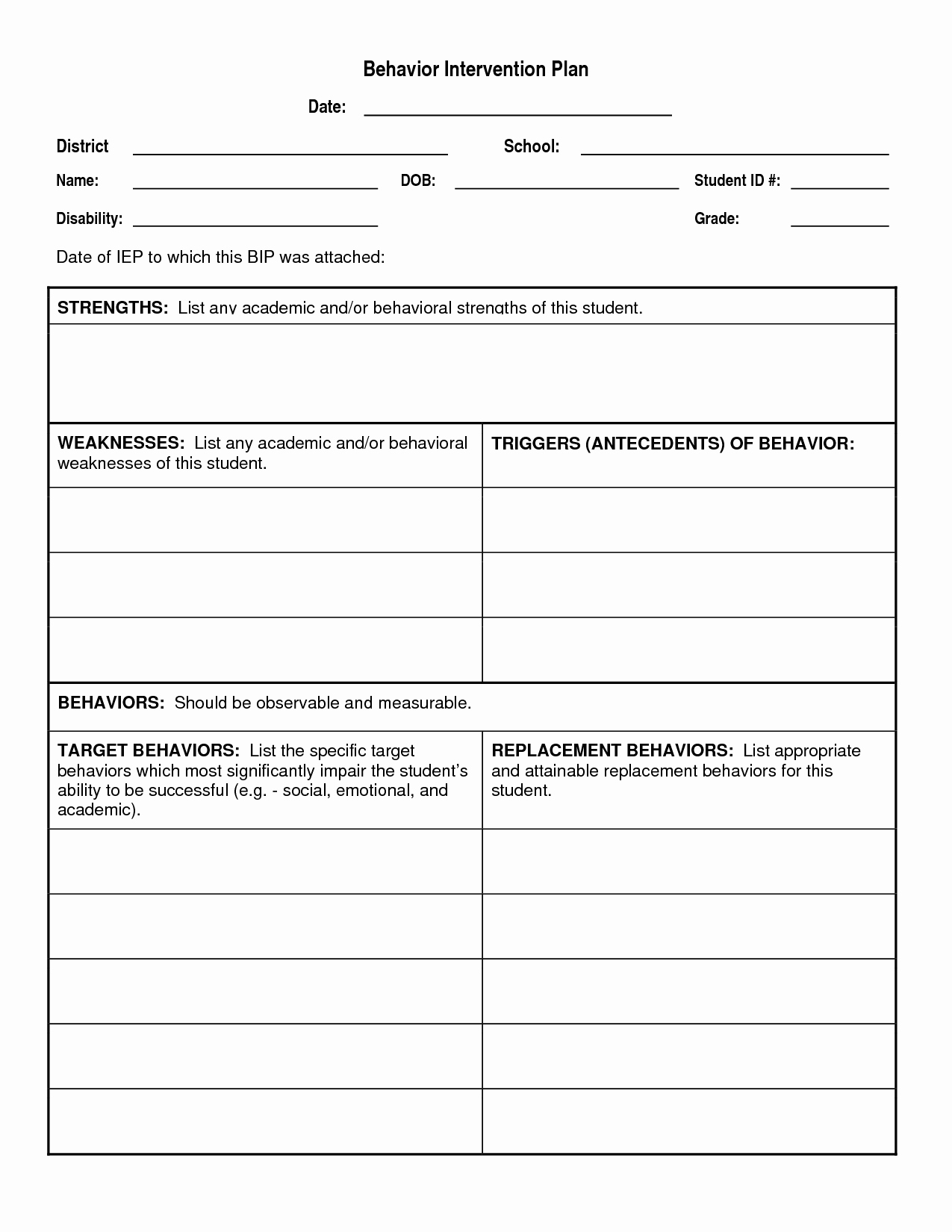 Behavior Intervention Plan Template Elegant Student Intervention Plan to Pin On Pinterest