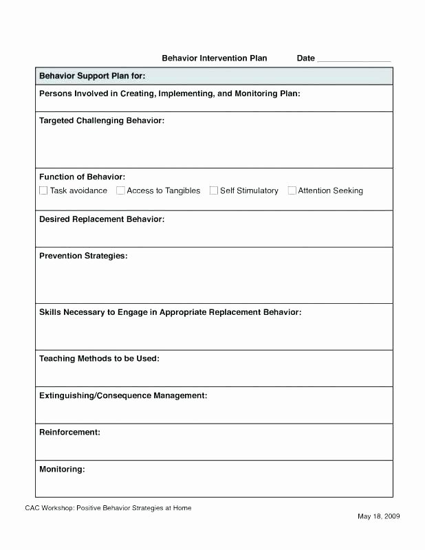 Behavior Intervention Plan Template Lovely Sample Behavior Intervention Plan Template