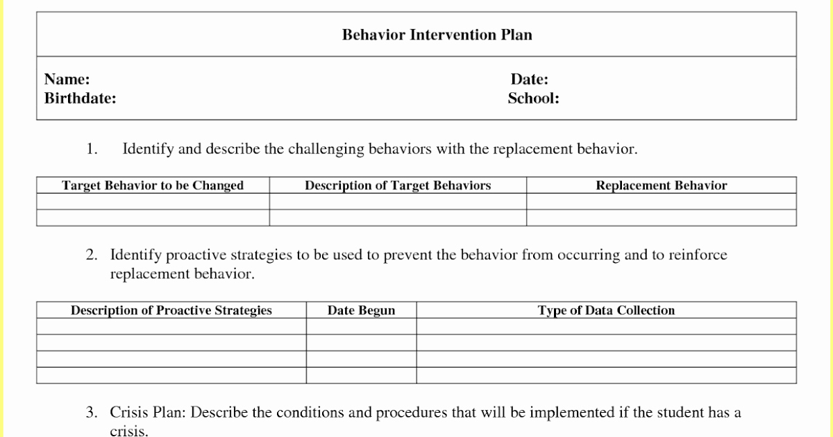Behavior Intervention Plan Template Luxury Behavior Intervention Plan Template