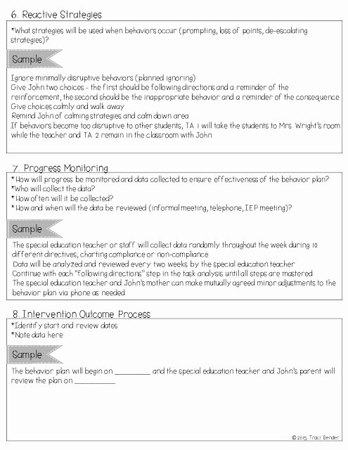 Behavior Intervention Plan Template Luxury the Bender Bunch Creating A Behavior Intervention Plan Bip
