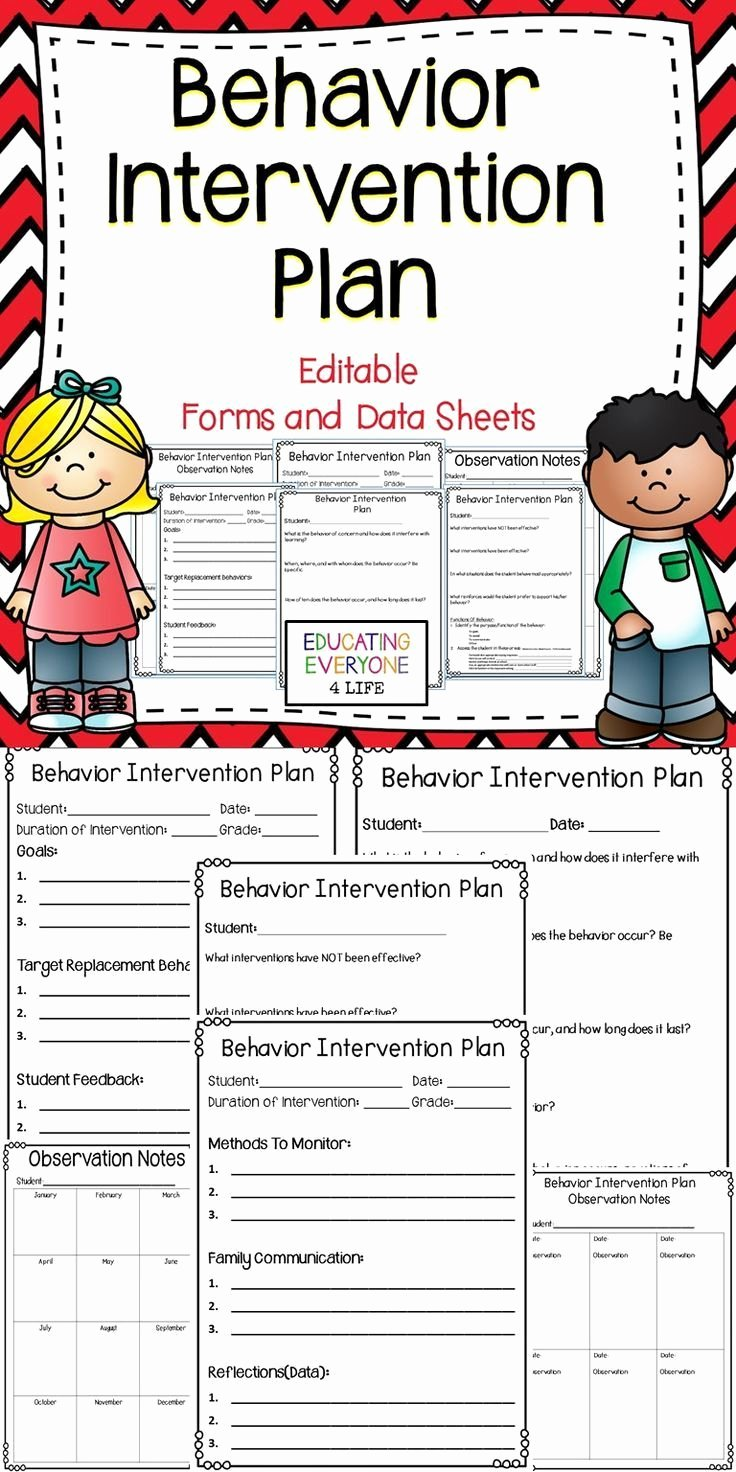 Behavior Management Plan Template Fresh Behavior Intervention Plan Editable forms and Data Sheets