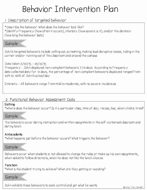 Behavior Management Plan Template Inspirational Creating A Behavior Intervention Plan Bip