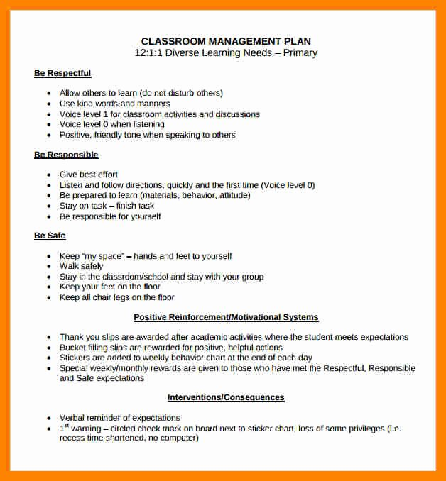 Behavior Management Plan Template Unique Classroom Behavior Management Plan