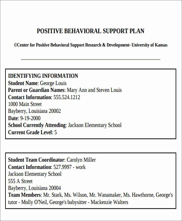Behavior Modification Plan Template Lovely 6 Behavior Intervention Plan Examples