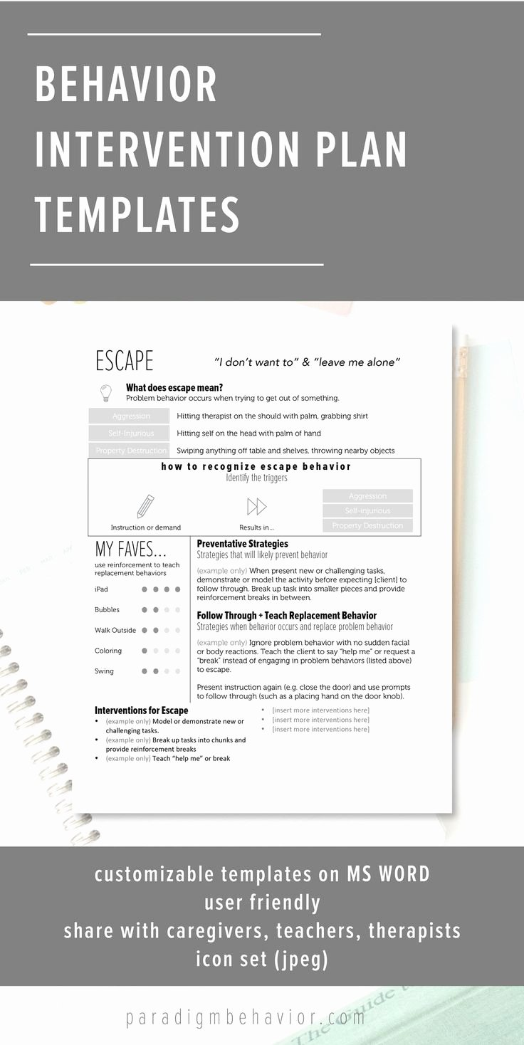 Behavior Modification Plan Template Luxury 1000 Images About Behavior Interventions School