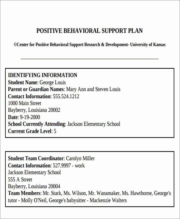 Behavior Support Plan Template Luxury 6 Behavior Intervention Plan Examples