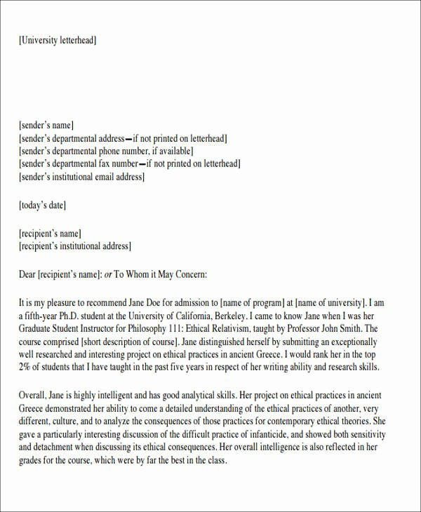 Berkeley Letter Of Recommendation Awesome 8 Sample formal Letter Of Re Mendation