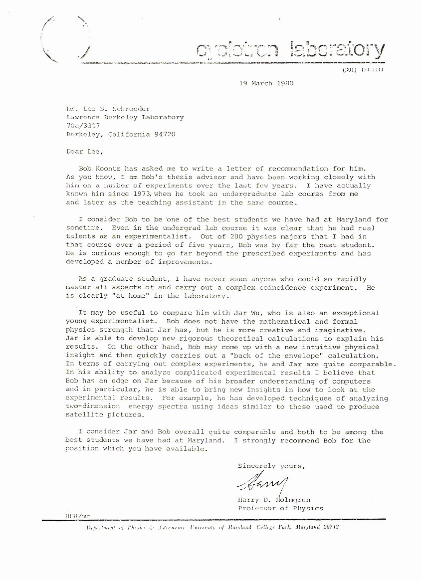 Berkeley Letter Of Recommendation Elegant News Articles and Other Material Relating to Bob Koontz