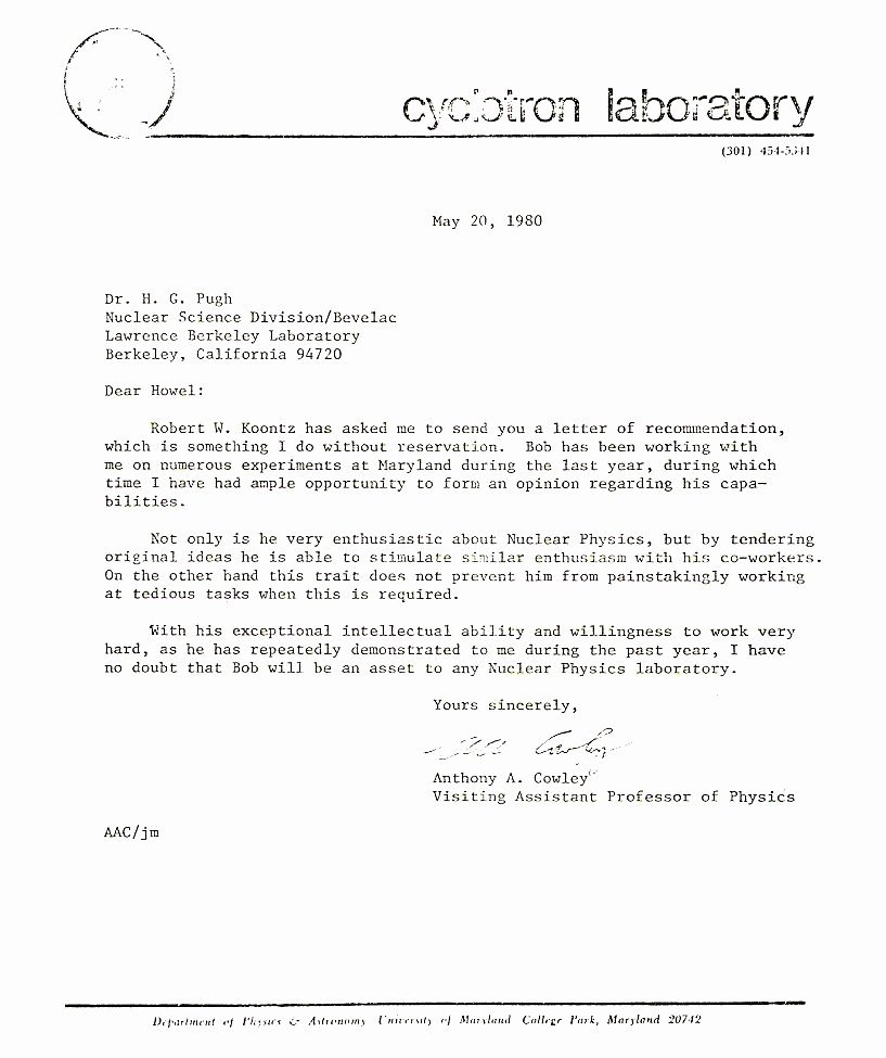 Berkeley Letter Of Recommendation New News Articles and Other Material Relating to Bob Koontz