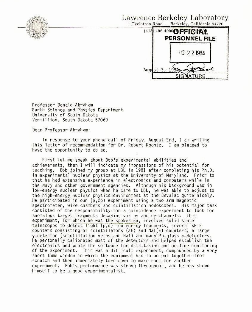 Berkeley Letter Of Recommendation Unique News Articles and Other Material Relating to Bob Koontz