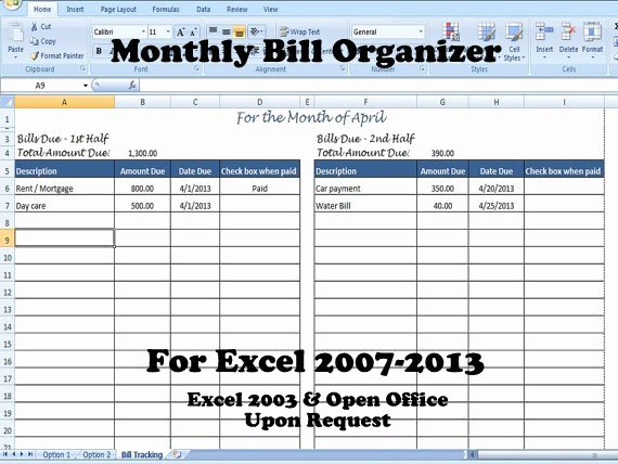 Bill Pay Template Excel Beautiful Monthly Bill organizer Bill Tracker Calculates total Due