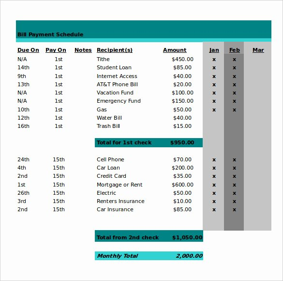 Bill Pay Template Excel Elegant 21 Monthly Work Schedule Templates Pdf Doc