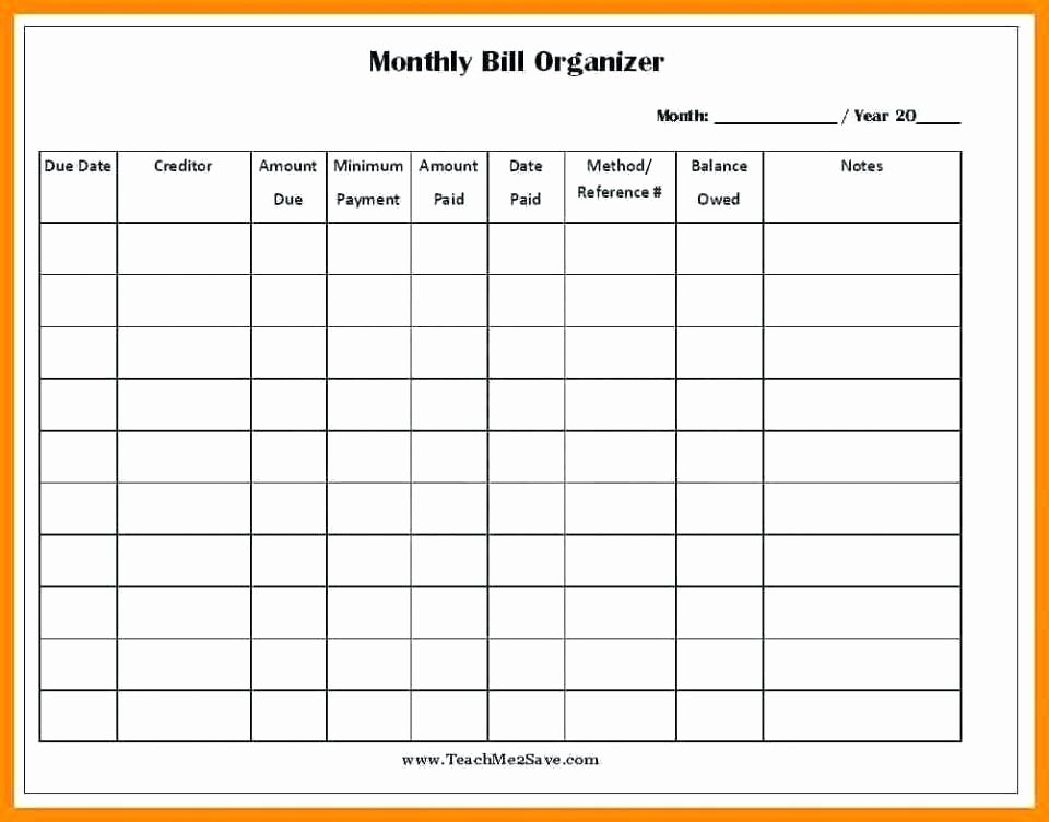 Bill Pay Template Excel Luxury 11 Free Printable Bill Payment Schedule
