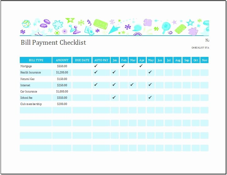 Bill Pay Template Excel Luxury Bill Payment Checklist Templates for Ms Excel