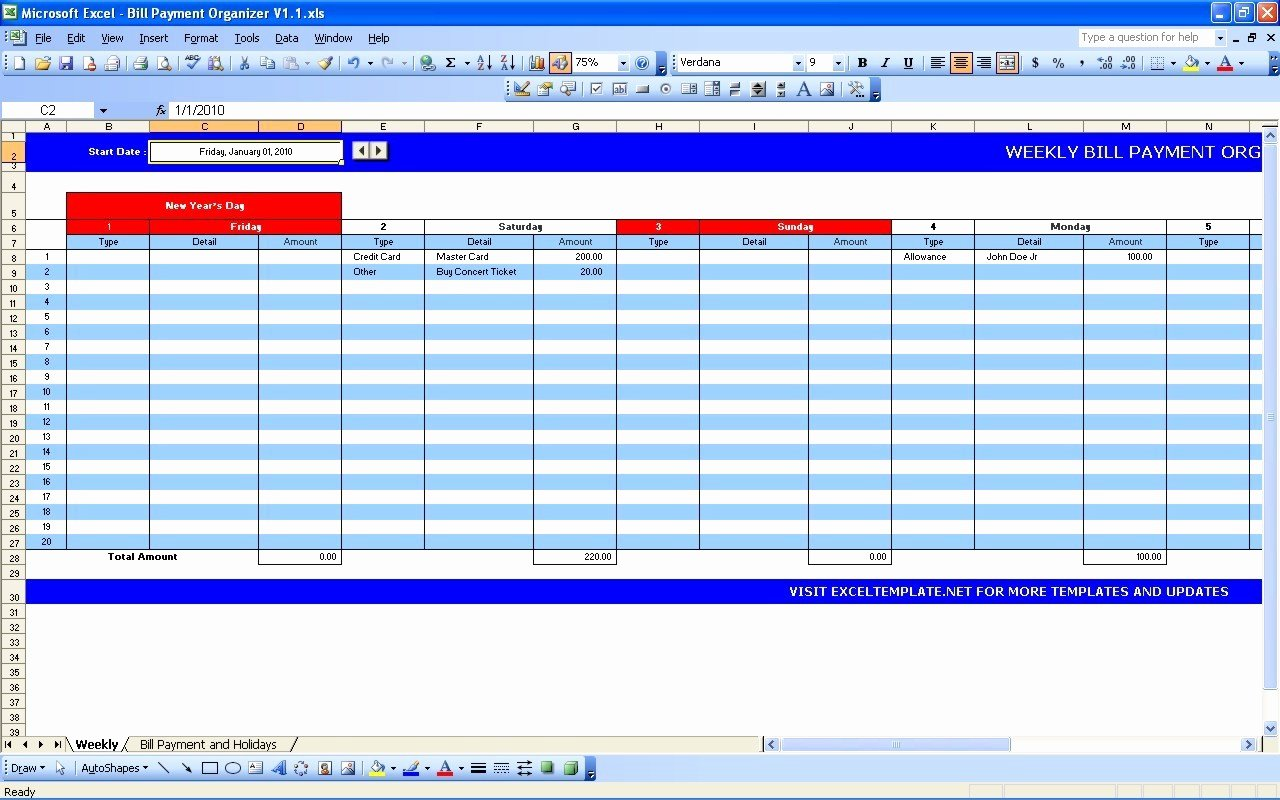 Bill Pay Template Excel New Coin Excel Template Free Coin Excel Template software