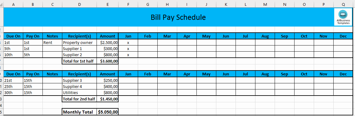Bill Pay Template Excel New Free Monthly Payment Schedule In Excel