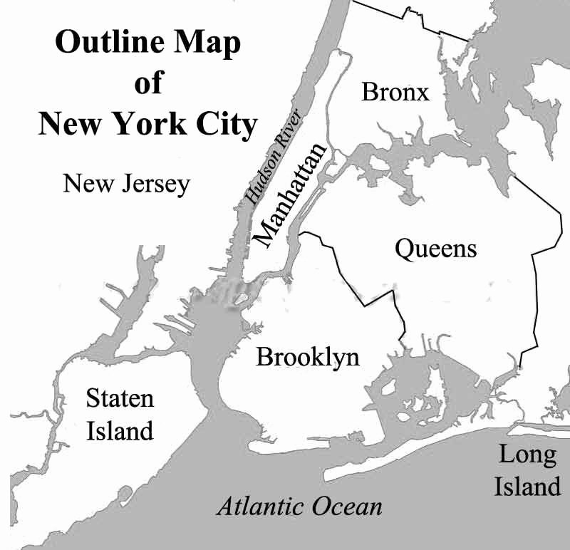 Blank City Map Template Awesome Outline Map Of New York City