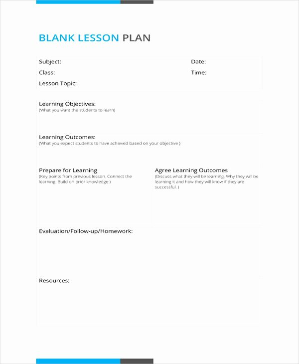 Blank Lesson Plan Template Best Of 50 Lesson Plan Templates Pdf Doc Excel