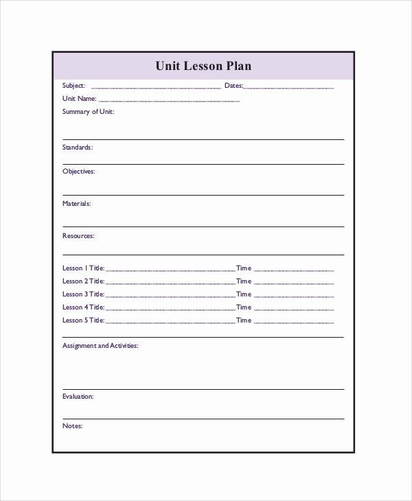 Blank Lesson Plan Template Doc Elegant Blank Printable Lesson Plans form Best Games