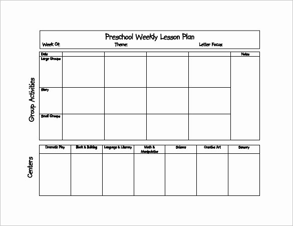 Blank Lesson Plan Template Doc Inspirational Blank Lesson Plan Template for Pre K 20 Preschool Lesson