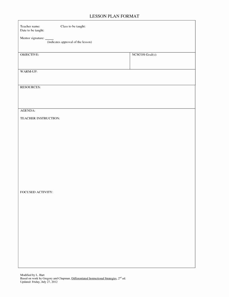 Blank Lesson Plan Template New Blank Lesson Plan Template