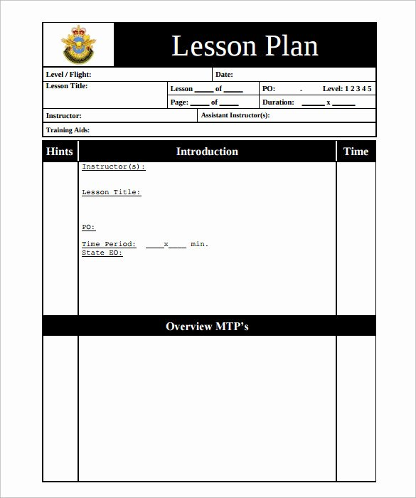 Blank Lesson Plan Template Pdf Awesome Sample Printable Lesson Plan Template – 11 Free