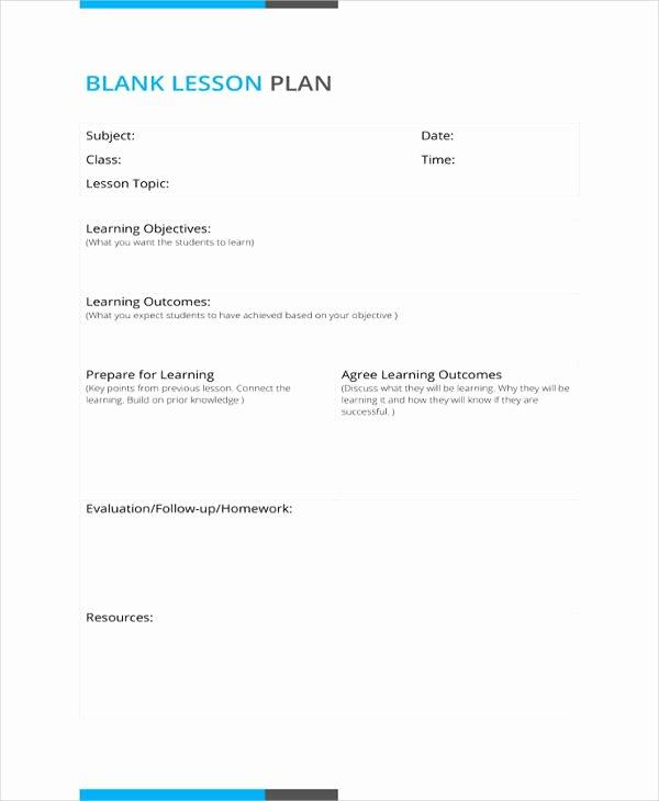 Blank Lesson Plan Template Pdf Unique 50 Lesson Plan Templates Pdf Doc Excel