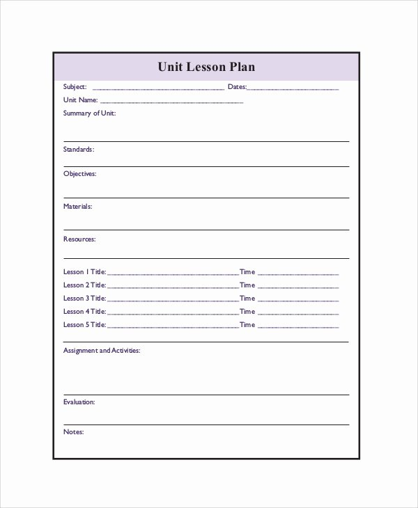 Blank Lesson Plan Template Pdf Unique Printable Lesson Plan 7 Free Word Pdf Documents