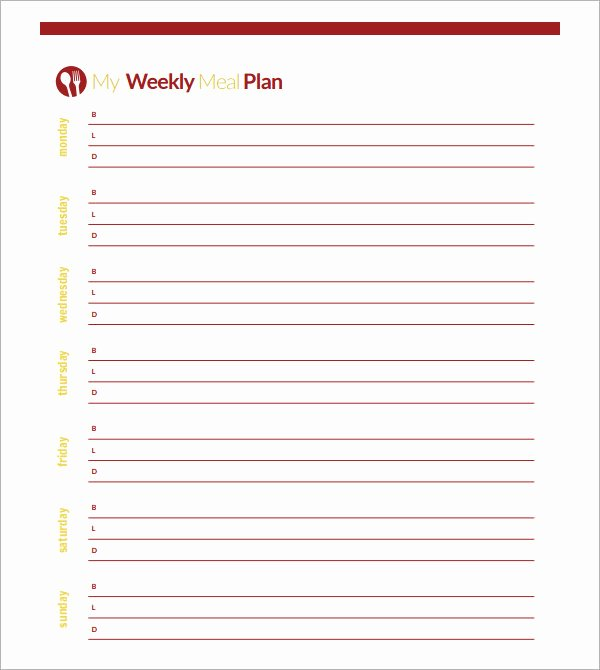 Blank Meal Plan Template Best Of 18 Meal Planning Templates Pdf Excel Word