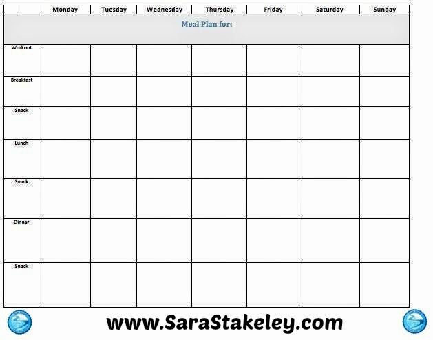 Blank Meal Plan Template Inspirational Blank Weekly Meal Plan Template Edit for Free