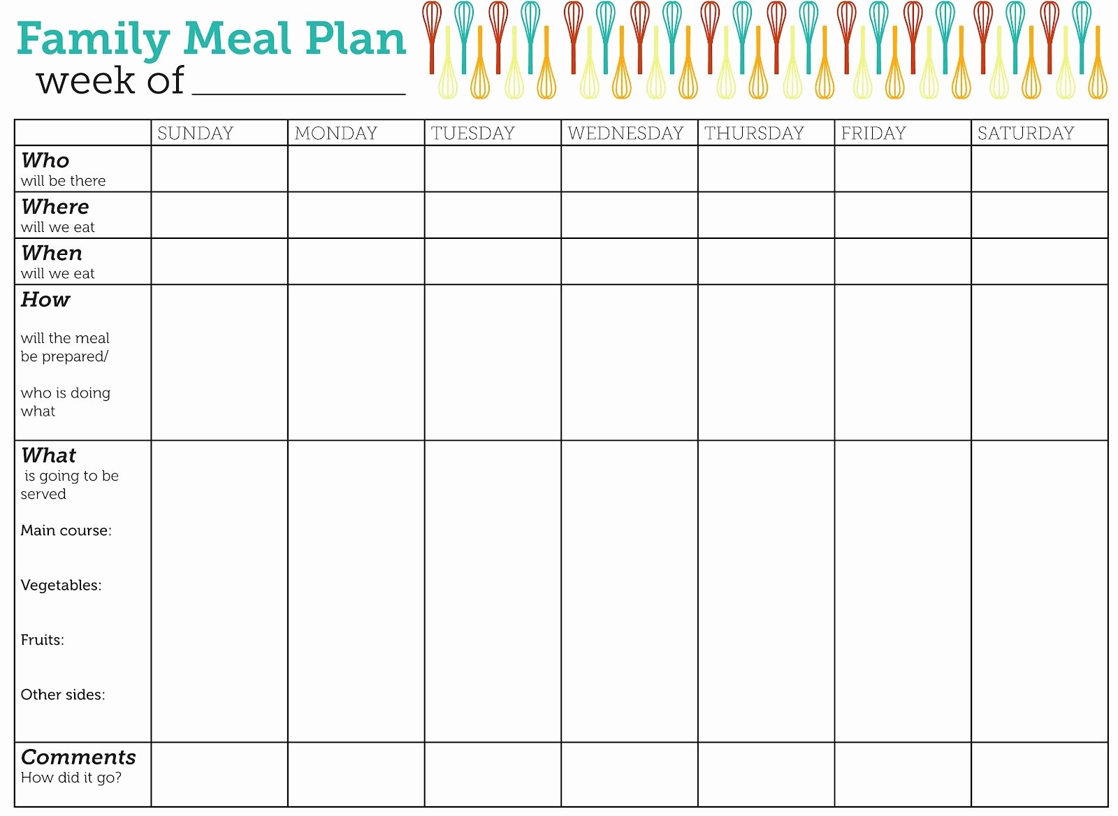 Blank Meal Plan Template Inspirational Design Lass Family Meal Plan Printable Family Meal Free